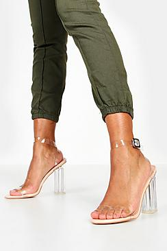 Clear Block Barely There Heels