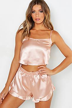 boohoo Satin Frill Hem Cami and Short Set