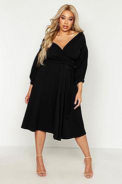 Plus Off Shoulder Wrap Midi Dress