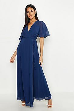 Chiffon Angel Sleeve Wrap Maxi Bridesmaid Dress