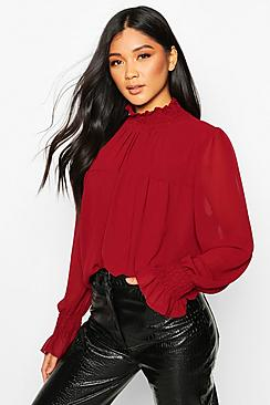 Shirred Neck Cuff Smock Top