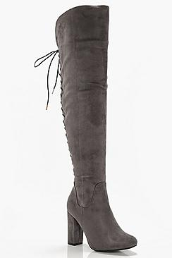 Lace Back Block Heel Over The Knee High Boots