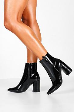 Pointed Block Heel Sock Boots