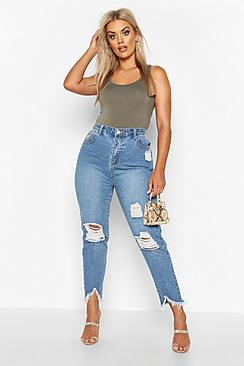 Plus Ripped Distressed High Waist Mom Jean