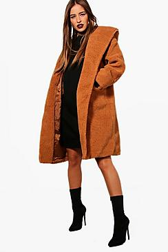 Petite Oversized Hooded Teddy Coat