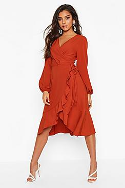 Crepe Ruffle Wrap Midi Skater Dress