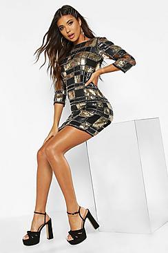 Boutique  Sequin 3/4 Sleeve Bodycon Dress