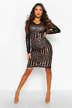 Sequin & Mesh Plunge Neck Midi Dress