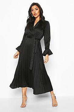 Satin Pleated Midaxi Dress