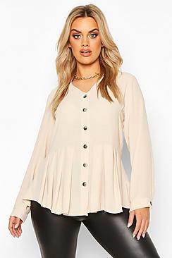 Plus Pleated Button Detail Peplum Shirt