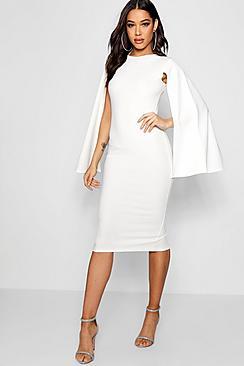 Cape Sleeve Bodycon Midi Dress