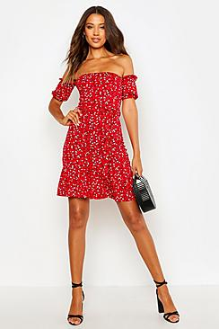 boohoo Tall Ditsy Floral Off The Shoulder Skater Dress