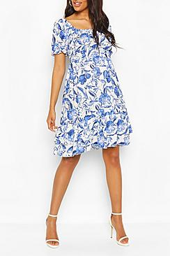 Maternity Floral Woven Smock Dress
