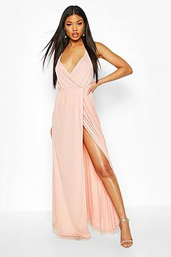 Plunge Wrap Sequin Maxi Dress