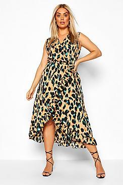 Plus Wrap Leopard Ruffle Midi Dress