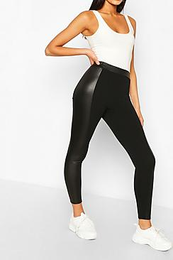 High Waist Wet Look Panel Legging