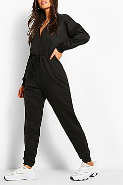 Wrap Over Loopback Sweat Jumpsuit