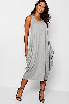 Racer Back Ruched Maxi Dress