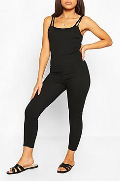 Petite Strap Detail Fitted Rib Jumpsuit