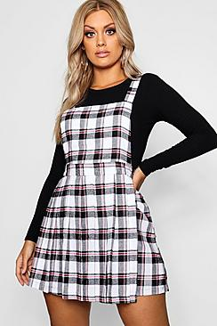 Plus Checked Pinafore Dress