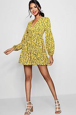 Ruched Waist Floral Tea Dress