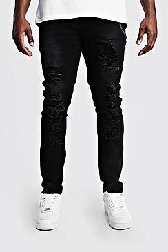 Plus Size Skinny Fit Jeans With Distressing