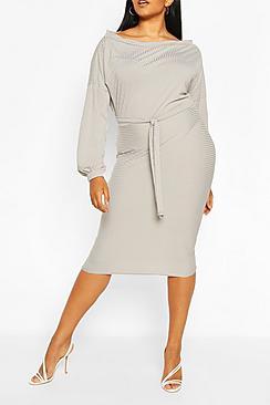 Plus Soft Rib Slash Neck Midi Dress
