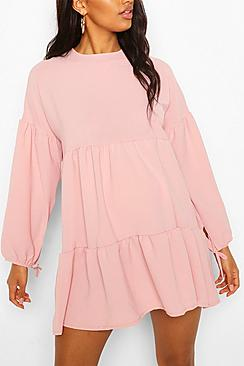 Maternity Tiered Tie Sleeve Smock Dress