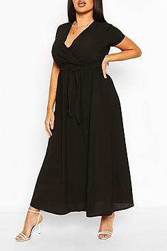 Plus Wrap Cap Sleeve Maxi Dress