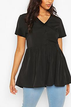 Maternity Button Front Woven Smock Top