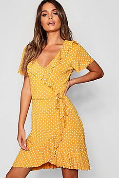 Polka Dot Wrap Front Ruffle Tea Dress
