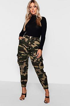 Plus Ripped Pocket Denim Cargo Jeans