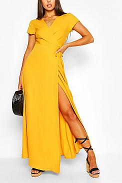 Plunge Front Tie Wrap Maxi Dress