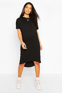 Maternity Dip Hem Oversized T-Shirt Dress