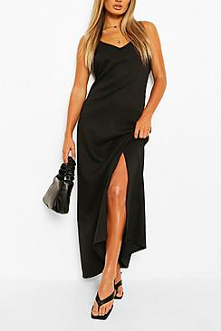Plunge Back Strappy Maxi Dress