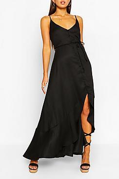 Se  Frill Drop Hem Belted Maxi Dress ved Boohoo.com