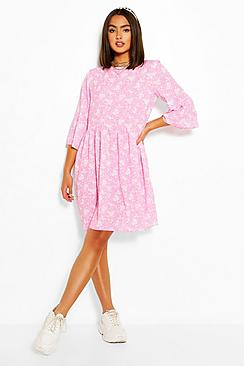 Floral Print Frill Sleeve Smock Dress