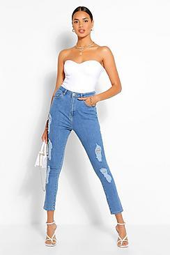 High Rise Super Distressed Skinny Jean
