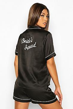 Bride's Squad Satin Embroidered Pj Short Set