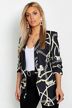 Plus Chain Print Ruched Sleeve Blazer