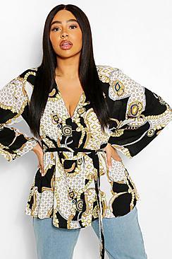 Se  Plus Plunge Kimono Sleeve Tie Waist Top ved Boohoo.com