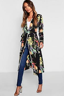 Dark Tropical Floral Belted Kimono