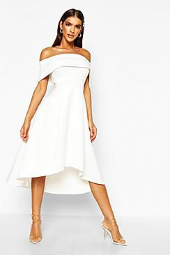 Off The Shoulder Dip Hem Skater Dress