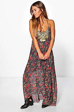 Petite  Floral Print Hanky Hem Dress