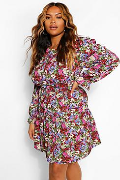 Plus Woven Puff Sleeve Floral Skater Dress