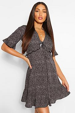 Tall Woven Spot Print Ruffle Front Tea Dress