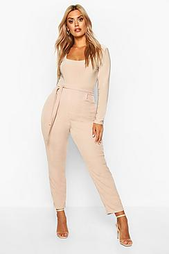 Plus Ribbed High Waist Tie Waist Tapered Trouser