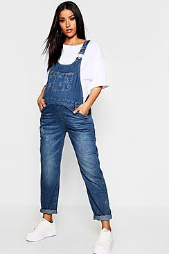 Maternity Mid Blue Wash Dungarees