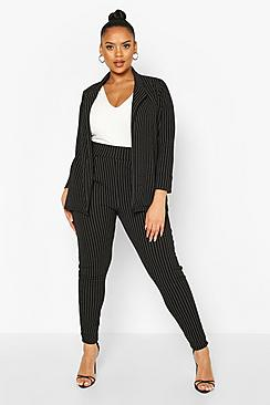 Plus Pinstripe Tailored Blazer Trouser Co-ord