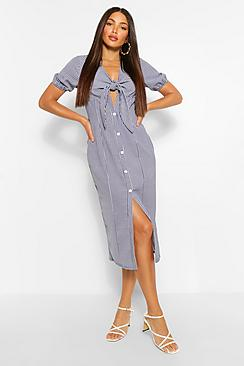 Tall Woven Gingham Print Knot Front Midi Dress